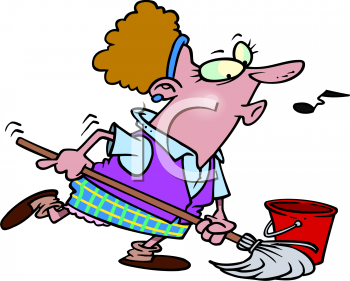 Cartoon of a Woman Mopping and Whistling