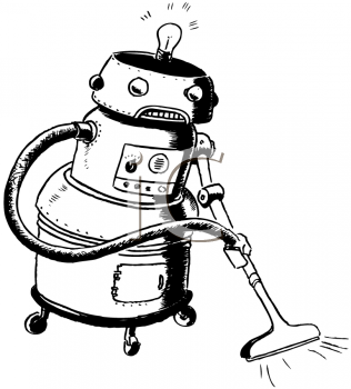 Vintage Cartoon of a Robot Maid