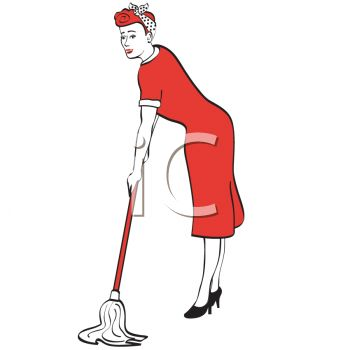 Retro Housewife Mopping