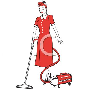 Retro Housewife Using a Canister Vacuum