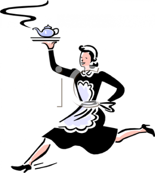 Royalty Free Clip Art Image: Maid Running with a Pot of Tea