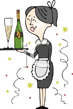 Maid Serving Champagne for a Celebration