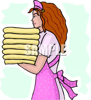 young housekeeper carrying a stack of towels royalty free clip art rh clipartguide com housekeeping clip art pictures housekeeping clipart images