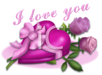 Box of Candy with Roses and I Love You Text