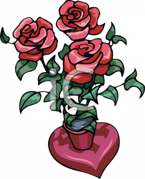 Red Roses in a Heart Shaped Vase