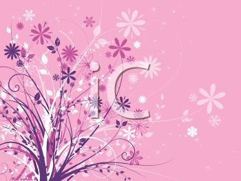Pink Background with Flowers and Leaves