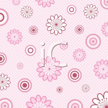 Pink Flowers on a White Checkered Background