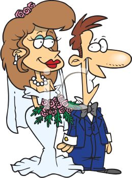 Bride and Groom Walking Down the Isle Cartoon