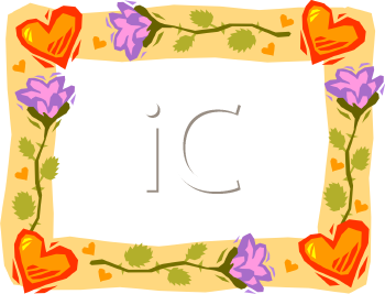 Hearts and Flowers Border - Royalty Free Clip Art Picture