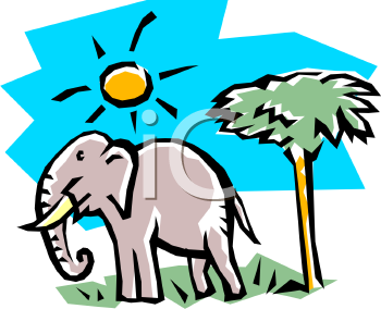 Cartoon Elephant Standing in the Sun