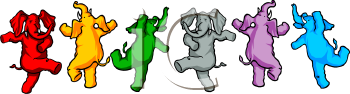 Cartoon Dancing Elephants