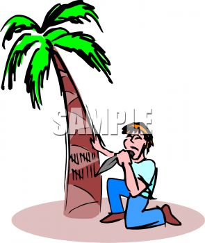 Cartoon of a Man Stranded on an Island Carving Days into a Palm Tree