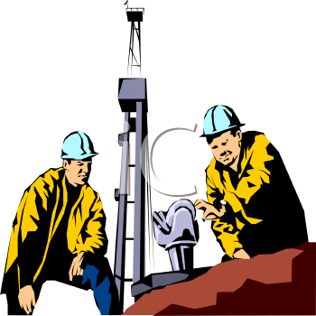 Roughnecks Working on an Oil Well
