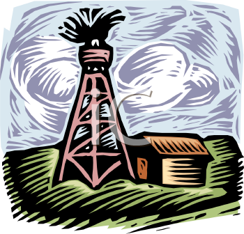 Oil Well Spewing Above a Farmhouse