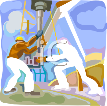Men Working on an Oil Well