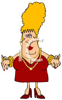 Cartoon of a Rich Fat Woman Dripping in Gold Jewelry