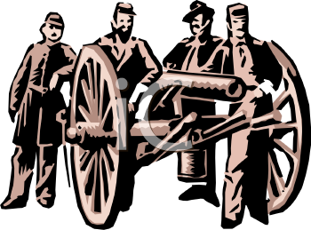 Civil War Soldiers Standing by a Canon - Royalty Free Clip Art ...