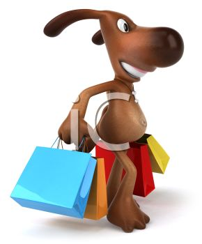 3D Brown Dog With Shopping Bags