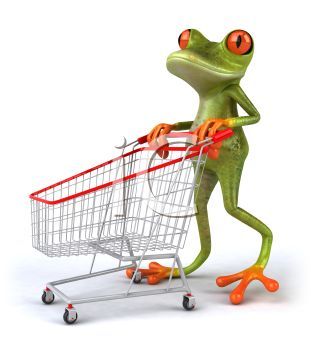 3D Tree Frog Pushing a Shopping Cart