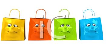 3D Shopping Bags with Faces on Them