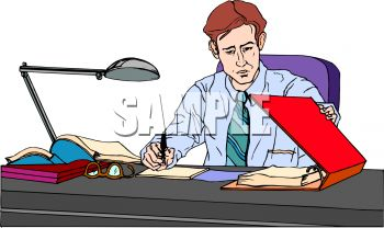 Salesman Working at His Desk