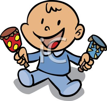 Cartoon Baby Boy Holding a Rattle in Each Hand