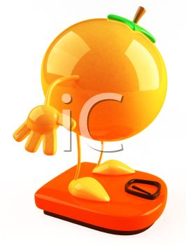 3D Orange Standing on a Scale