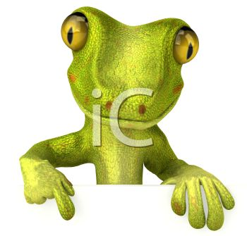 3D Gecko Holding a Blank Sign Pointing