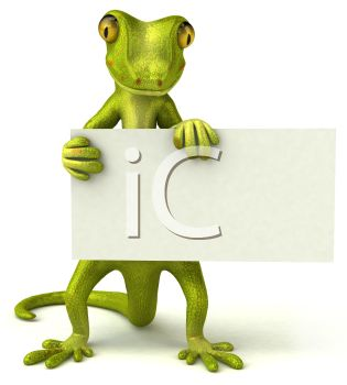 3D Gecko Holding a Blank Sign