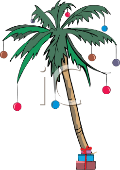 Palm Tree Decorated with Christmas Ornaments