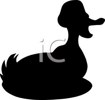 Animal Silhouette of a Quacking Duck