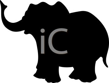 Animal Silhouette of a Cartoon Elephant