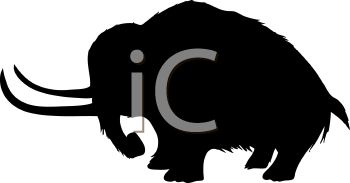 cible à bison - Page 3 0511-1001-2402-1066_Animal_Silhouette_of_a_Woolly_Mammoth_clipart_image
