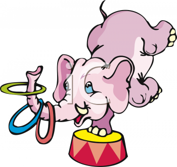 Circus Elephant Doing a Ring Trick