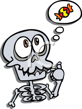 Cute Cartoon Skeleton Thinking of Halloween Candy
