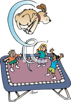 Kids and the Family Dog Playing on a Trampoline
