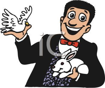 smiling magician holding a rabbit and a dove royalty free clip art rh clipartguide com magician clip art free magician clipart images