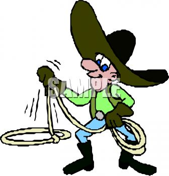 Cartoon Cowboy Twirling a Lasso