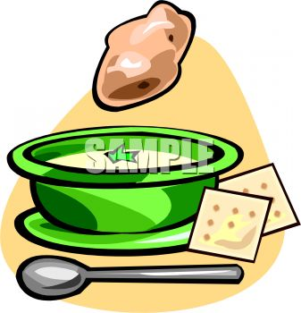 Bowl of Potato Soup with Crackers