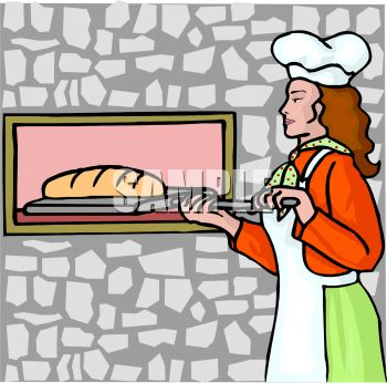 brick house clipart. Lady Putting Bread in a Brick