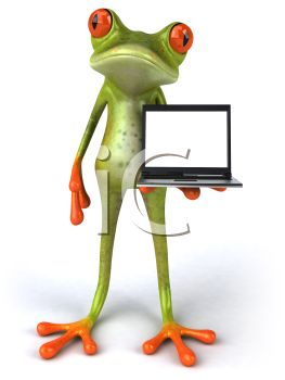 Frog Holding a Laptop Computer