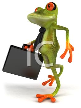 Business Frog Carrying a Briefcase