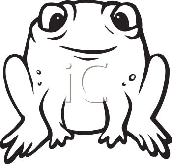 Black and White Cartoon Frog