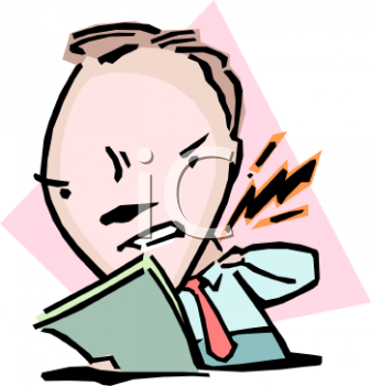 Cartoon of a Man Getting Hot Under the Collar