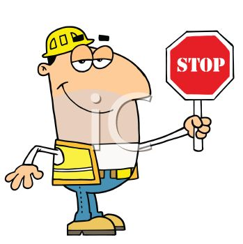 Occupation Cartoon of a Road Crew Worker Holding a Stop Sign