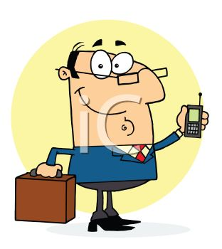Occupation Cartoon of a Businessman With a Briefcase and Cell Phone