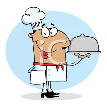 Occupation Cartoon of a Chef Holding a Covered Tray
