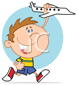 Cartoon of a Boy Playing with a Toy Plane