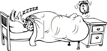 Cartoon of a Guy Sleeping Through His Alarm