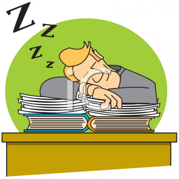 Man Sleeping on a Stack of Books